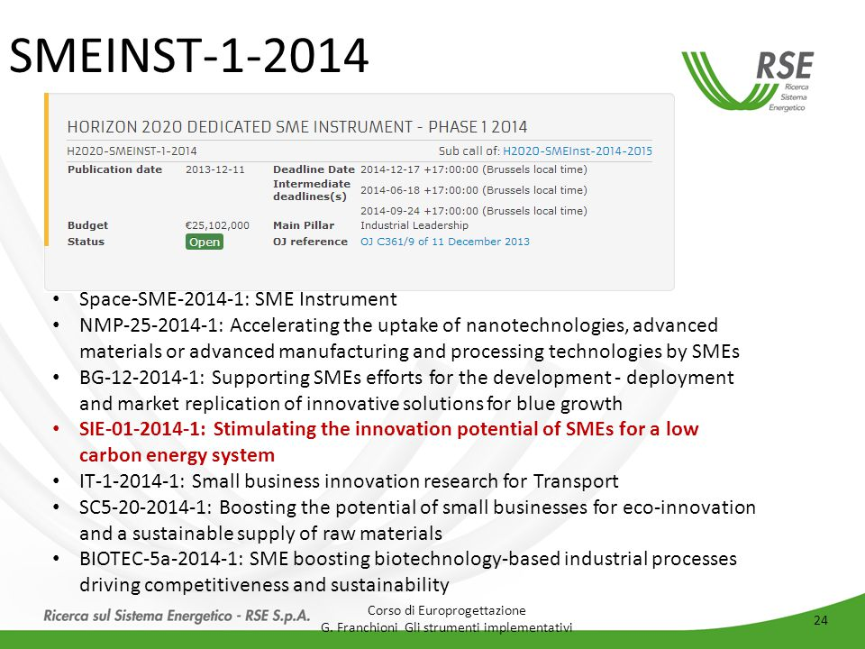 SMEINST-1-2014 Space-SME-2014-1: SME Instrument