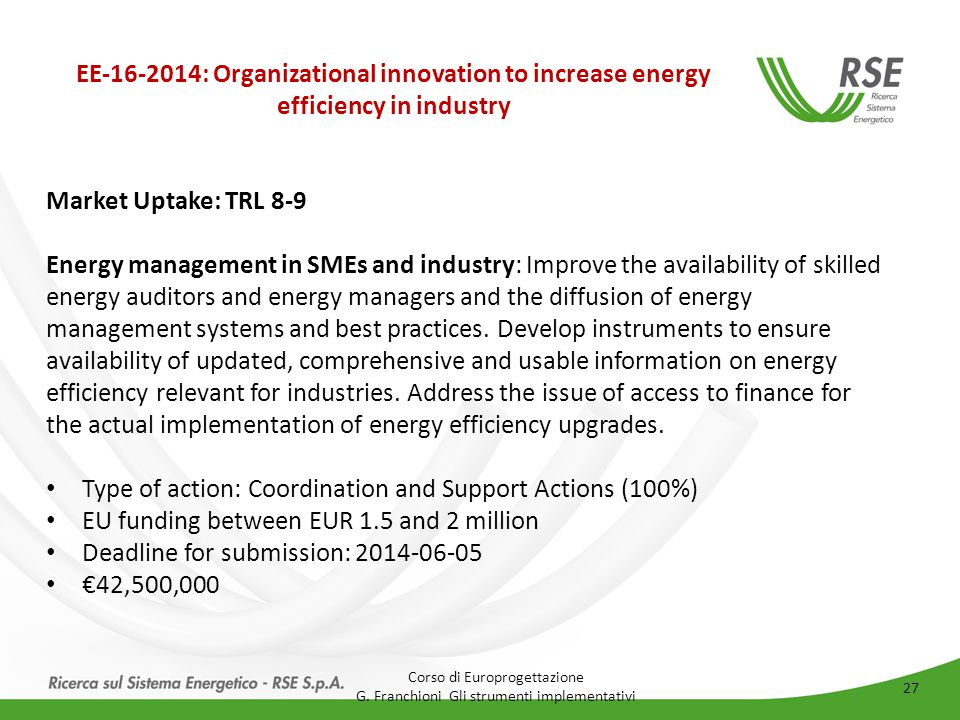 EE-16-2014: Organizational innovation to increase energy efficiency in industry