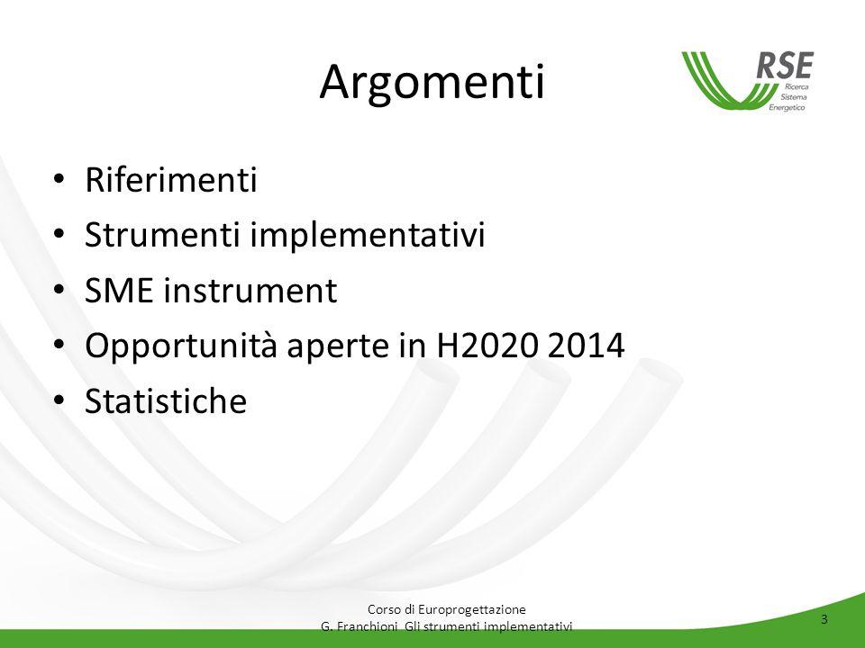Argomenti Riferimenti Strumenti implementativi SME instrument
