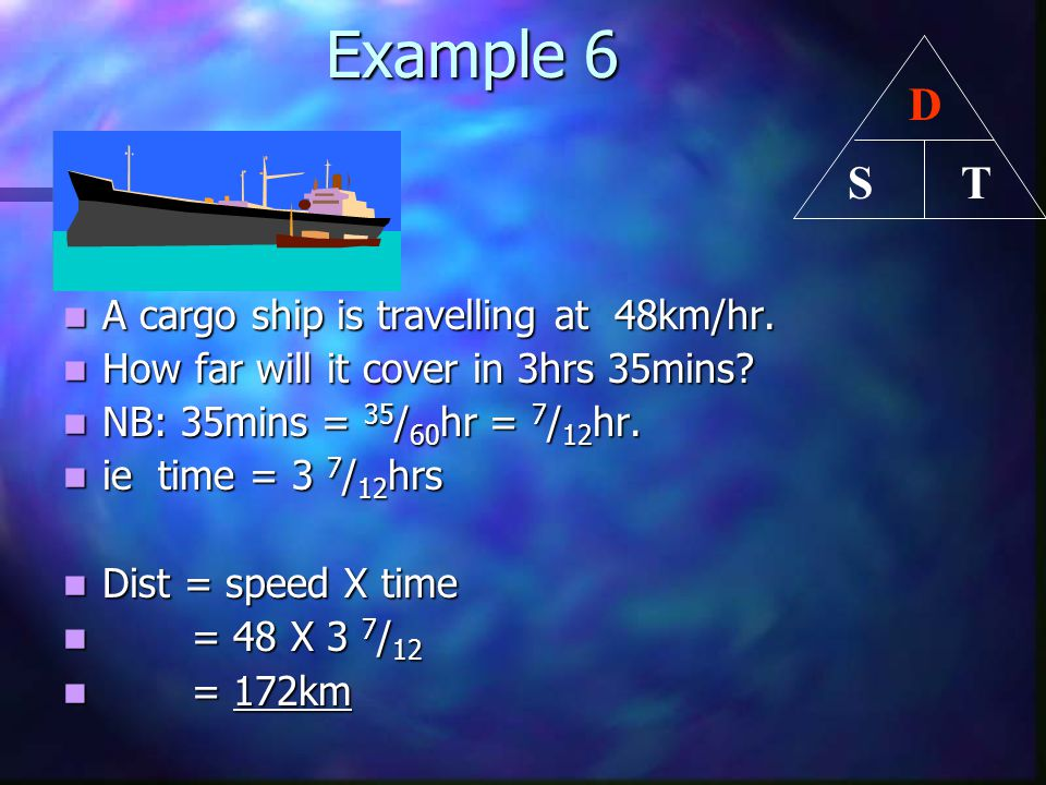 Example 6 D T S A cargo ship is travelling at 48km/hr.