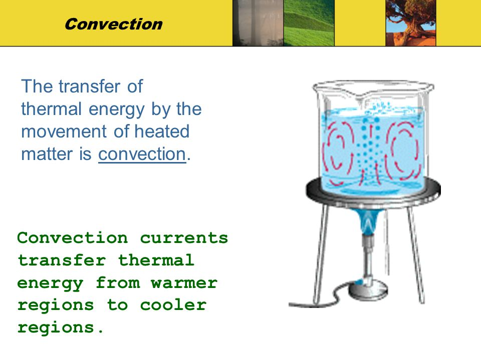 Convection The transfer of thermal energy by the movement of heated matter is convection.