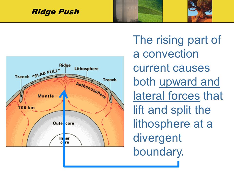 Ridge Push The rising part of a convection current causes both upward and lateral forces that lift and split the lithosphere at a divergent boundary.