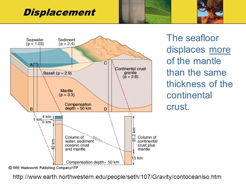 Displacement The seafloor displaces more of the mantle than the same thickness of the continental crust.