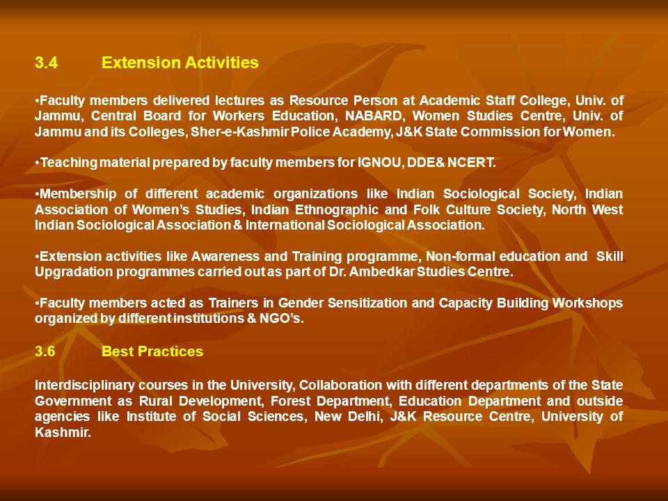 3.4 Extension Activities 3.6 Best Practices