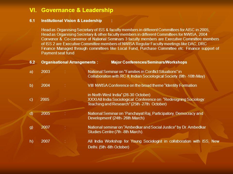 VI. Governance & Leadership