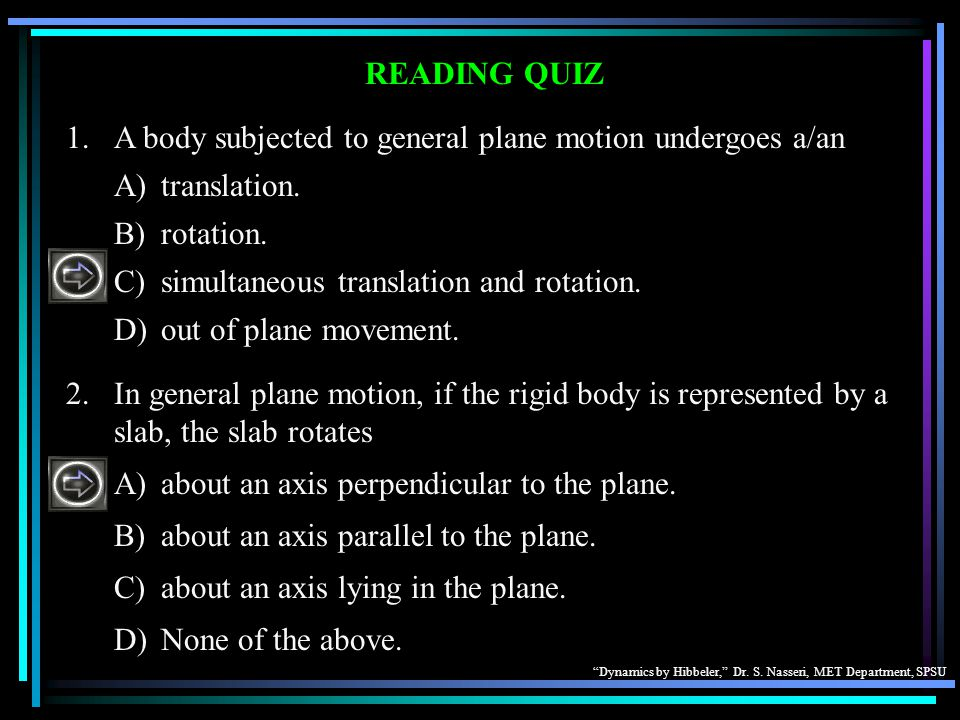 1. A body subjected to general plane motion undergoes a/an