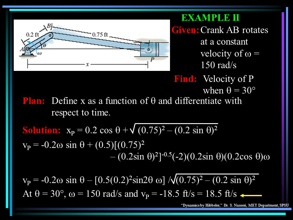 EXAMPLE II Given: Crank AB rotates at a constant velocity of w = 150 rad/s. Find: Velocity of P when q = 30°