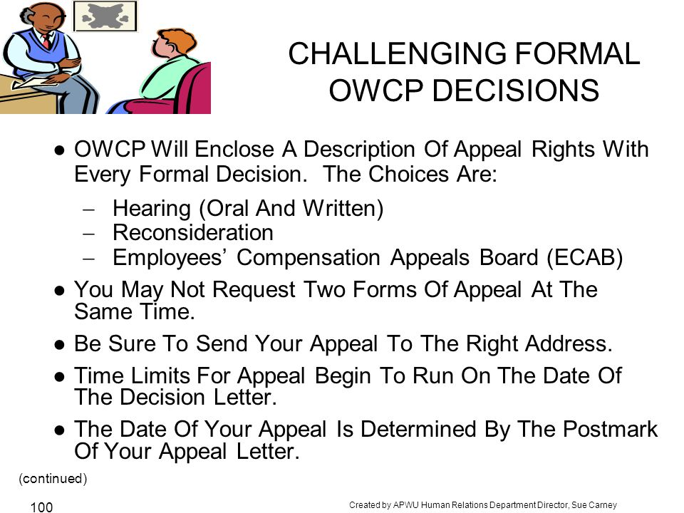 CHALLENGING FORMAL OWCP DECISIONS