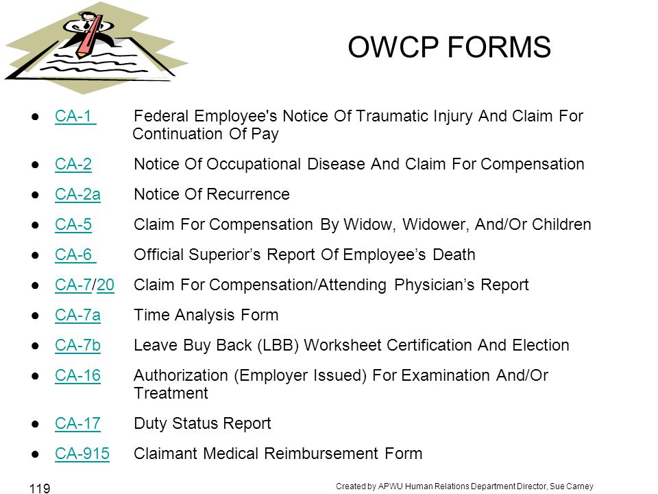 OWCP FORMS CA-1 Federal Employee s Notice Of Traumatic Injury And Claim For Continuation Of Pay.