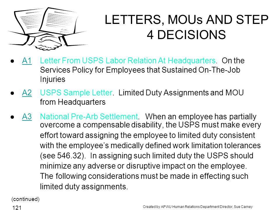 LETTERS, MOUs AND STEP 4 DECISIONS