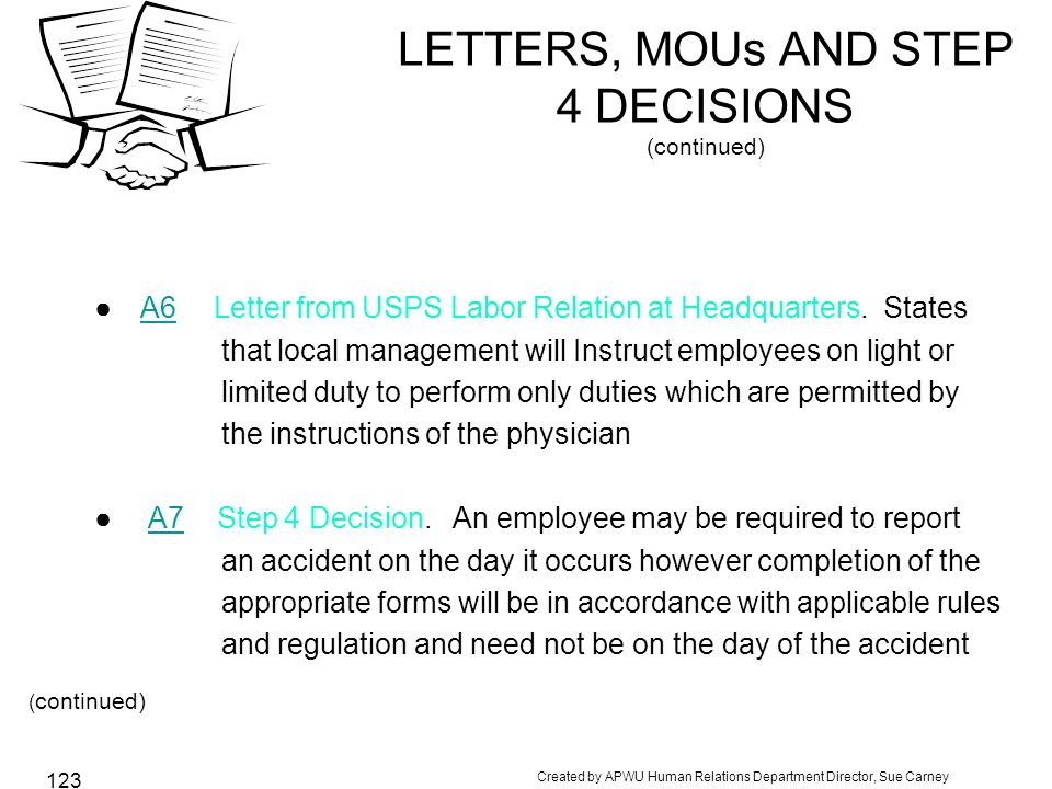 LETTERS, MOUs AND STEP 4 DECISIONS (continued)