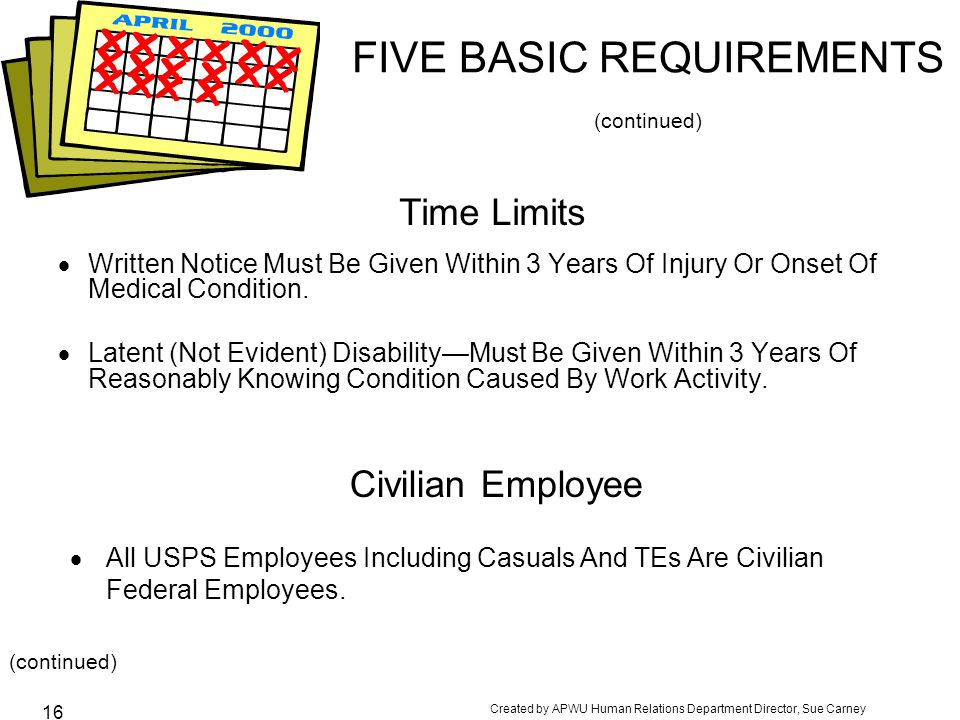 FIVE BASIC REQUIREMENTS (continued)