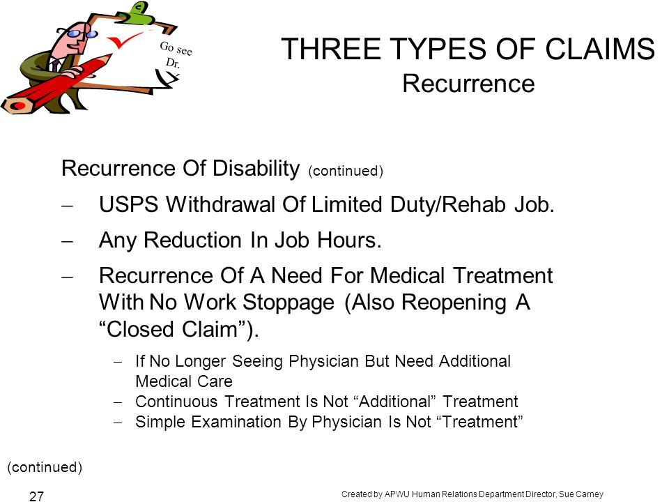 THREE TYPES OF CLAIMS Recurrence