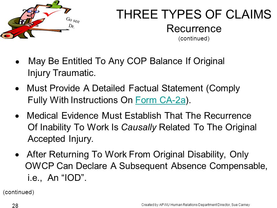 THREE TYPES OF CLAIMS Recurrence (continued)