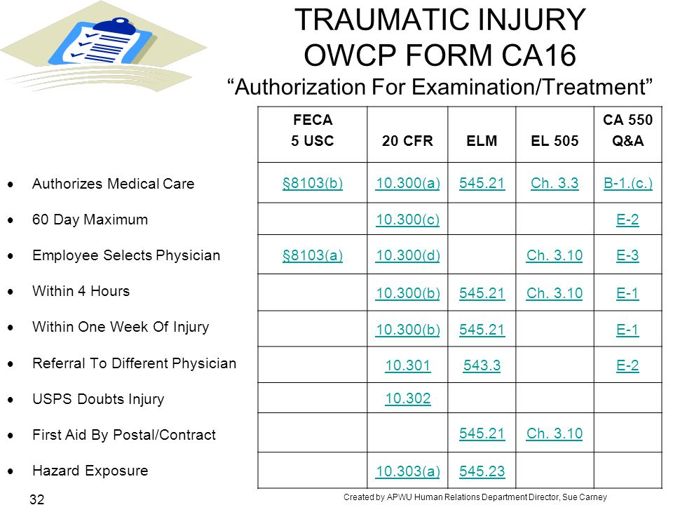 TRAUMATIC INJURY OWCP FORM CA16 Authorization For Examination/Treatment