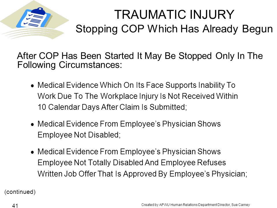 TRAUMATIC INJURY Stopping COP Which Has Already Begun