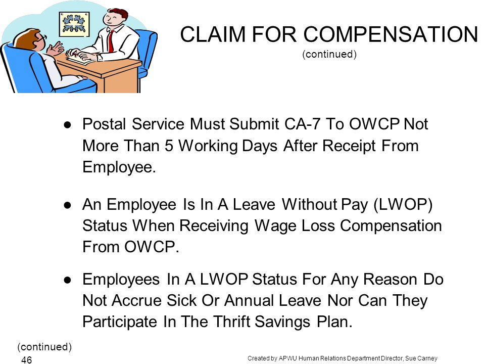 CLAIM FOR COMPENSATION (continued)