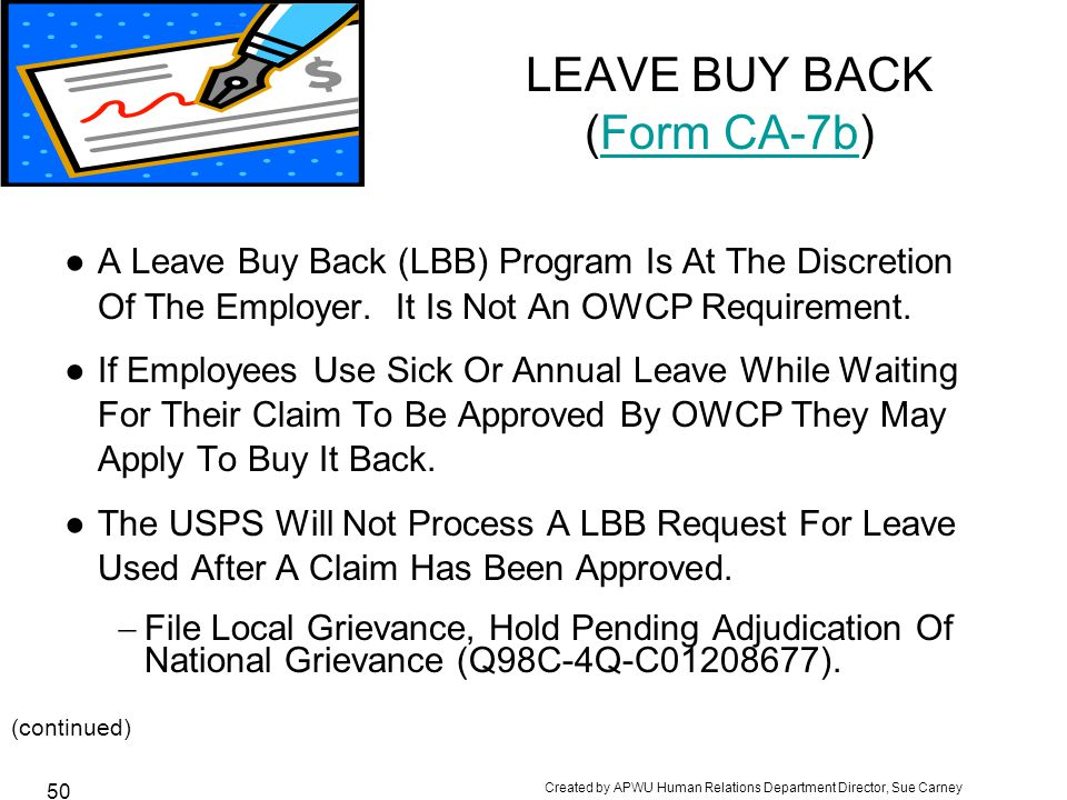 LEAVE BUY BACK (Form CA-7b)