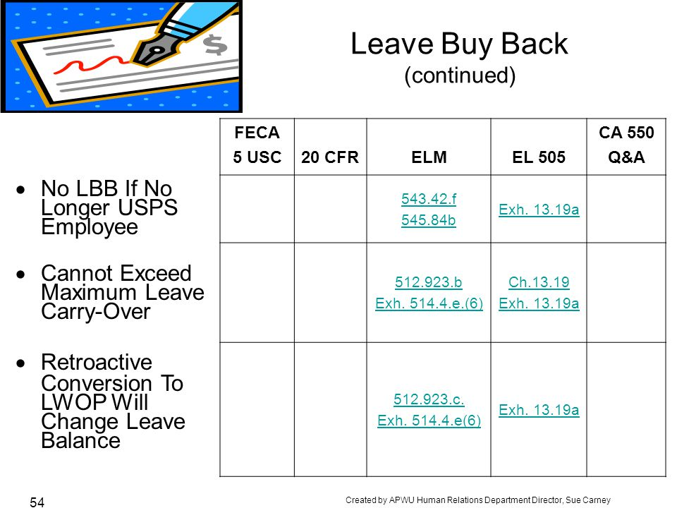 Leave Buy Back (continued)