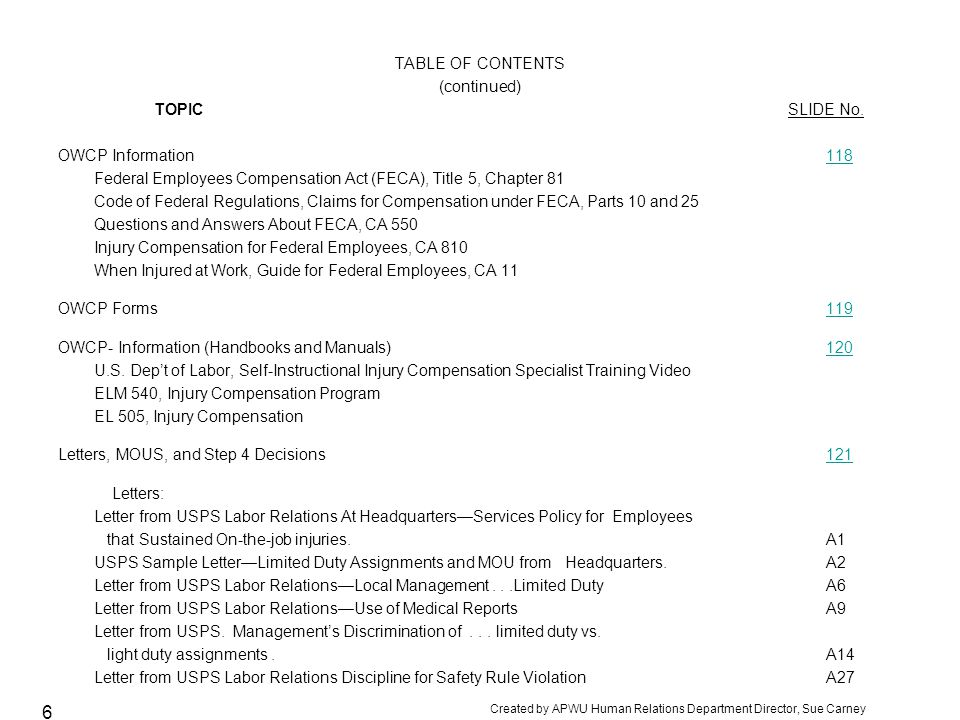 TABLE OF CONTENTS (continued) TOPIC SLIDE No. OWCP Information 118.