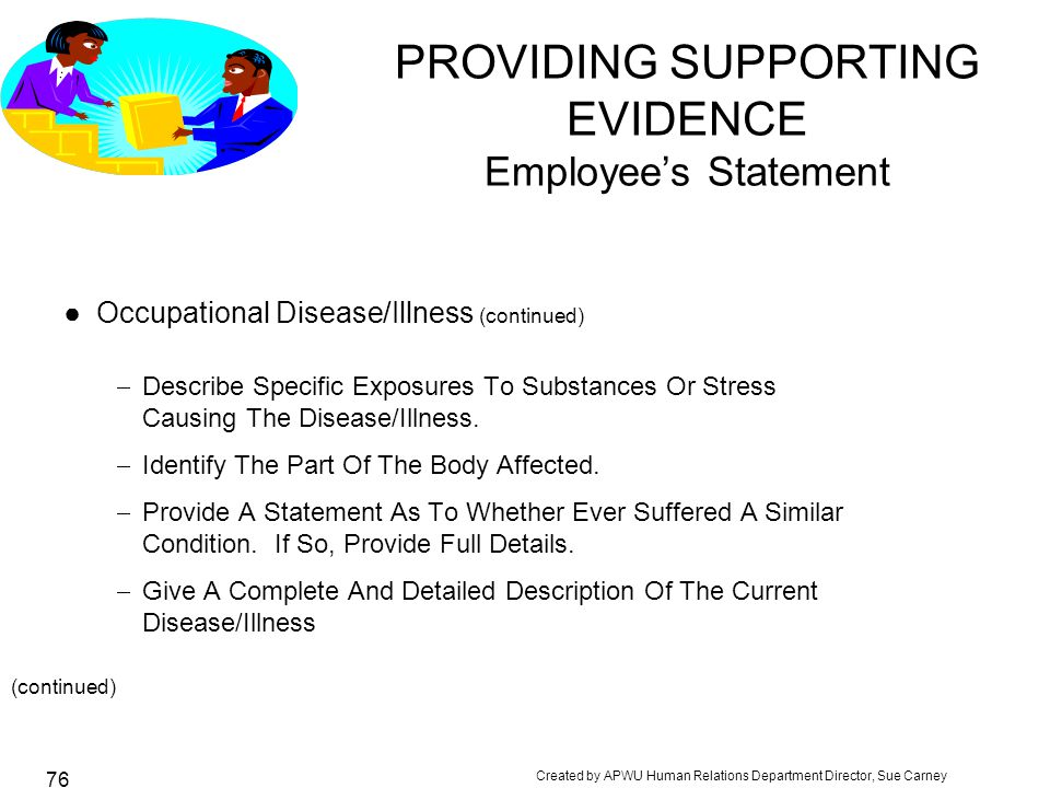 PROVIDING SUPPORTING EVIDENCE Employee's Statement