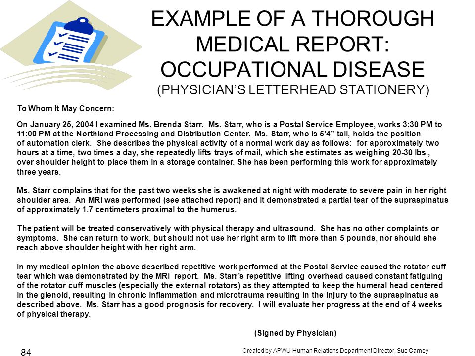 EXAMPLE OF A THOROUGH MEDICAL REPORT: OCCUPATIONAL DISEASE (PHYSICIAN'S LETTERHEAD STATIONERY)
