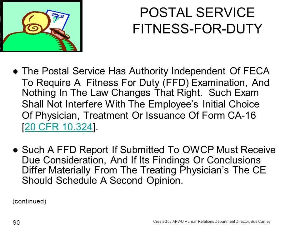 POSTAL SERVICE FITNESS-FOR-DUTY