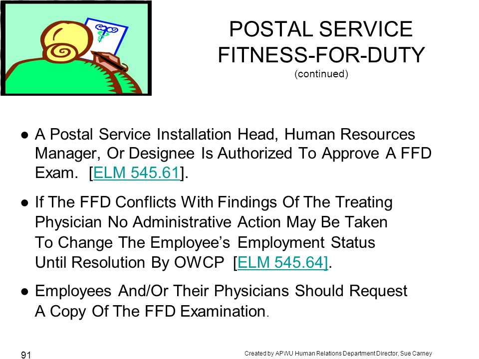 POSTAL SERVICE FITNESS-FOR-DUTY (continued)