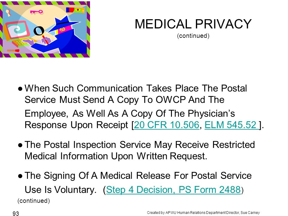 MEDICAL PRIVACY (continued)