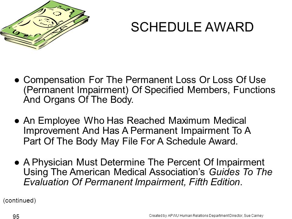 SCHEDULE AWARD Compensation For The Permanent Loss Or Loss Of Use (Permanent Impairment) Of Specified Members, Functions And Organs Of The Body.