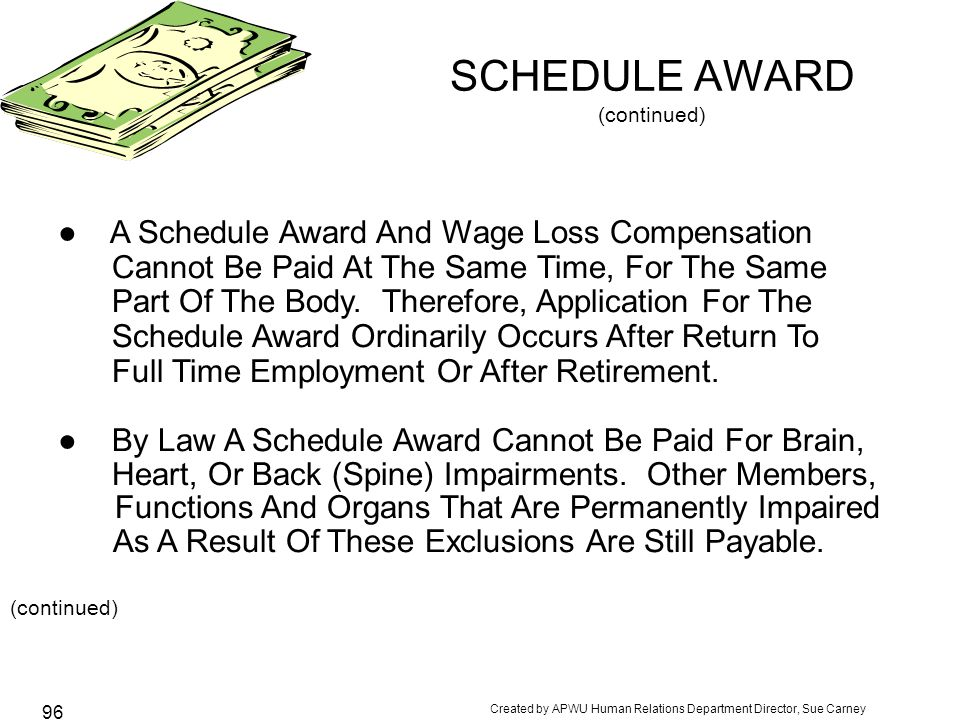 SCHEDULE AWARD (continued)