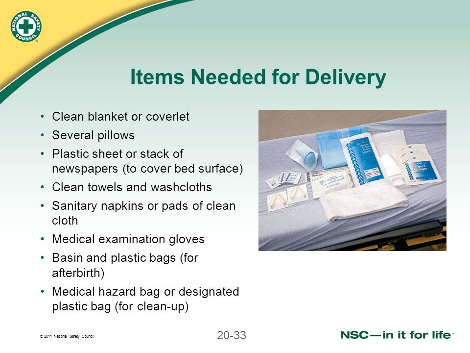 Items Needed for Delivery
