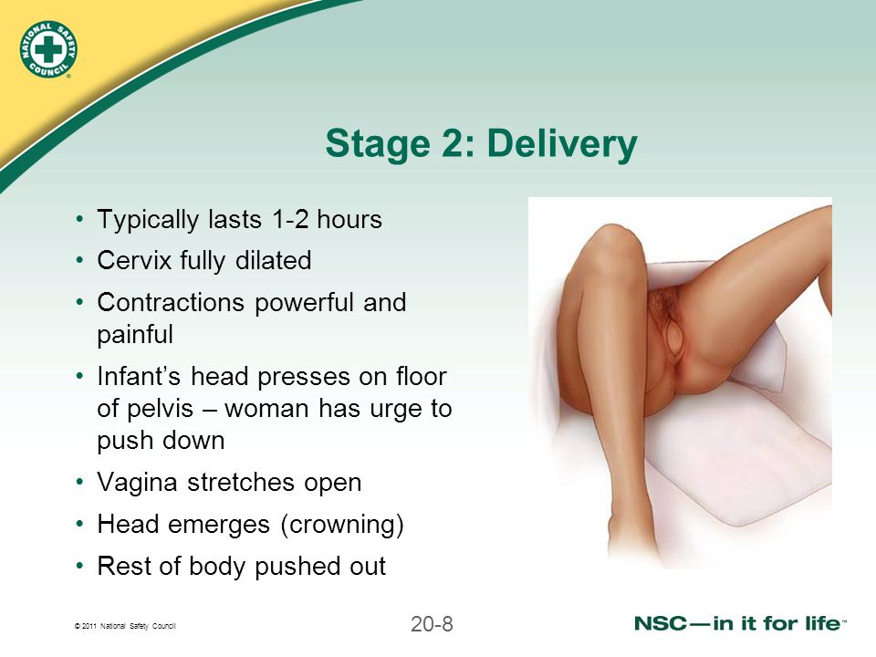 Stage 2: Delivery Typically lasts 1-2 hours Cervix fully dilated