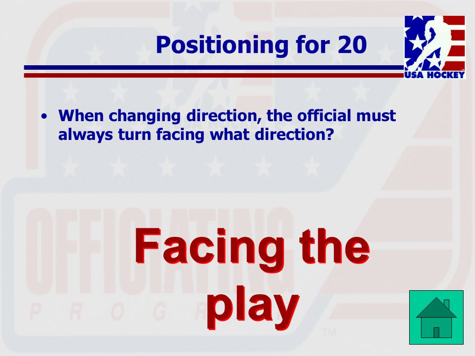 Facing the play Positioning for 20