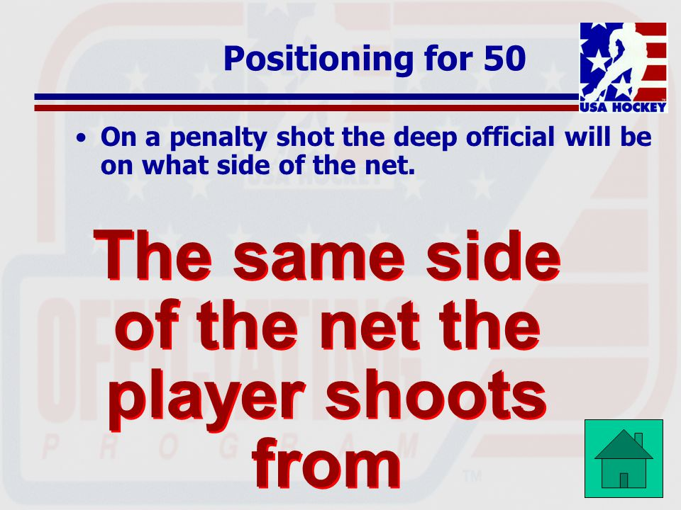 The same side of the net the player shoots from