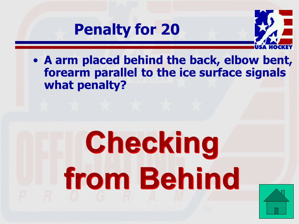 Checking from Behind Penalty for 20