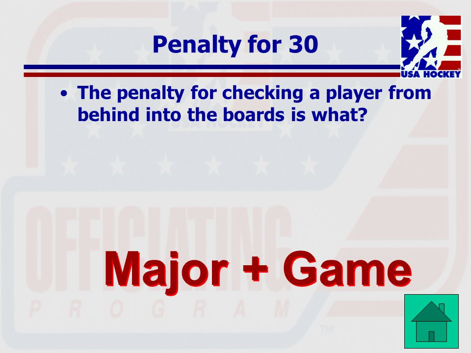 Major + Game Penalty for 30
