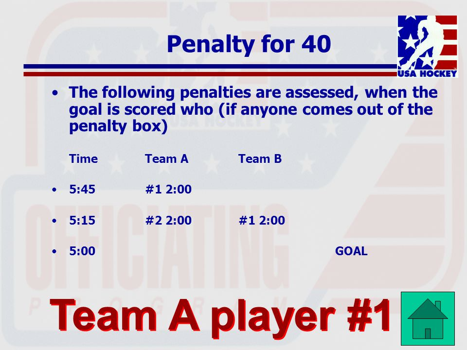 Team A player #1 Penalty for 40