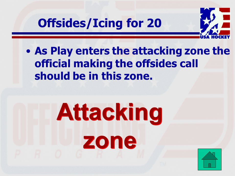 Attacking zone Offsides/Icing for 20