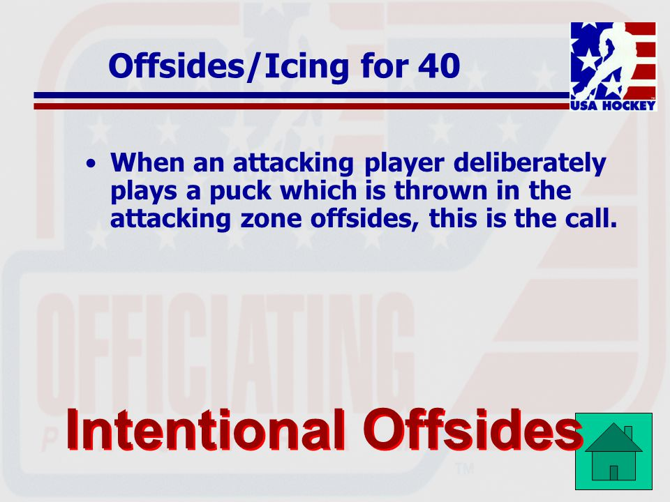 Intentional Offsides Offsides/Icing for 40