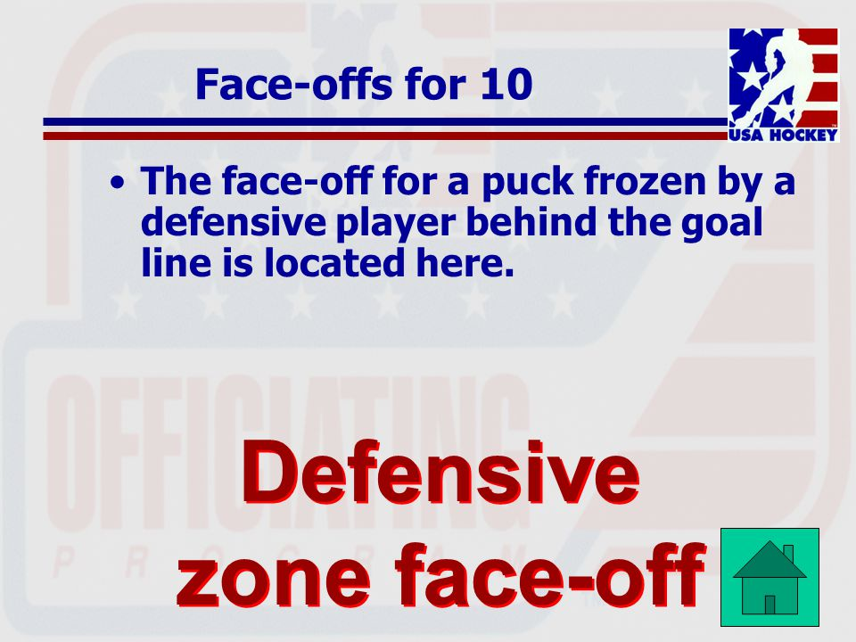 Defensive zone face-off spot