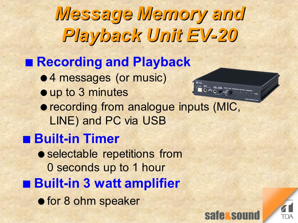 Message Memory and Playback Unit EV-20