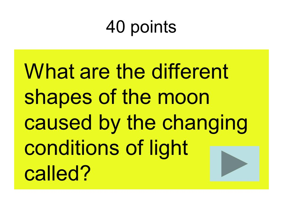 40 points What are the different shapes of the moon caused by the changing conditions of light called