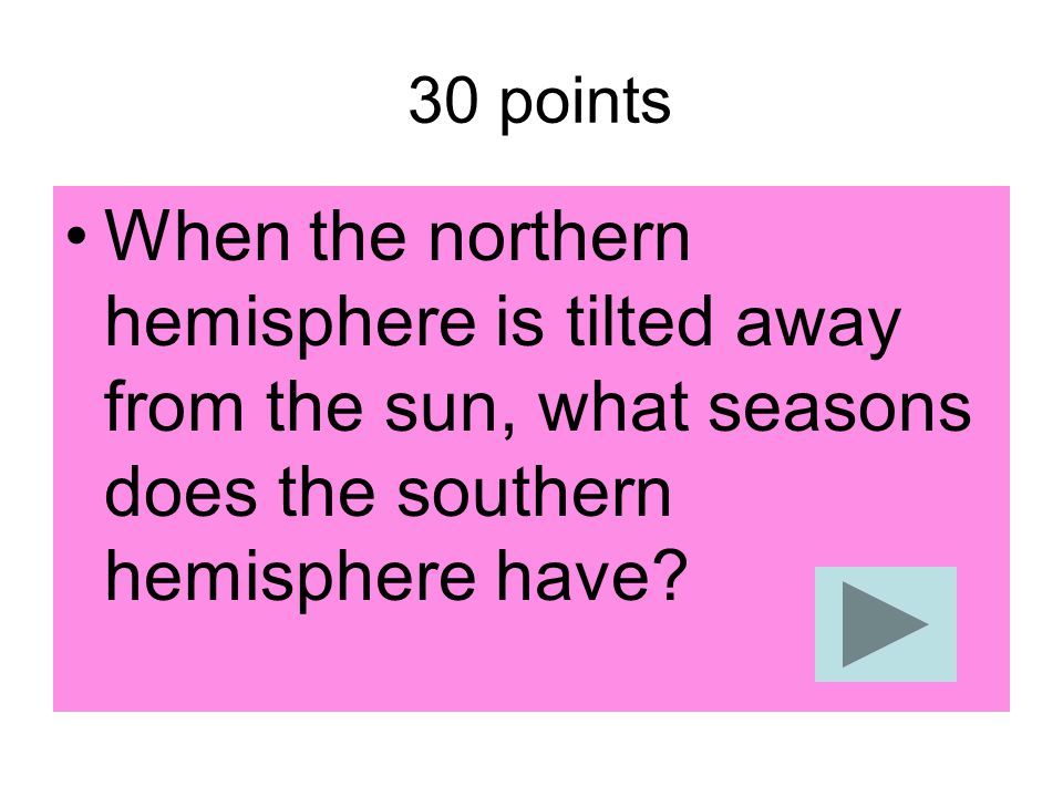 30 points When the northern hemisphere is tilted away from the sun, what seasons does the southern hemisphere have