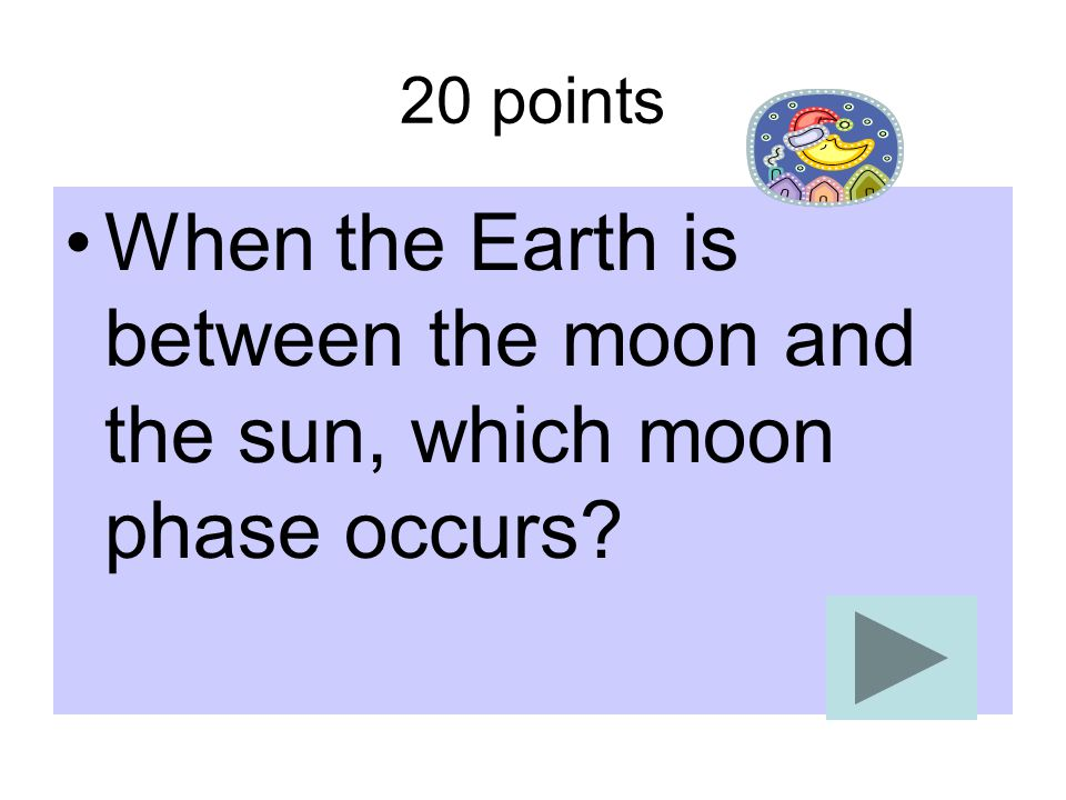 20 points When the Earth is between the moon and the sun, which moon phase occurs