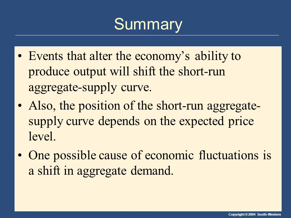Summary Events that alter the economy's ability to produce output will shift the short-run aggregate-supply curve.