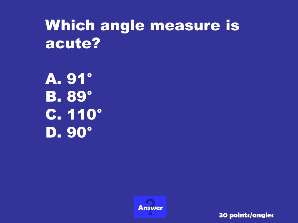 Which angle measure is acute