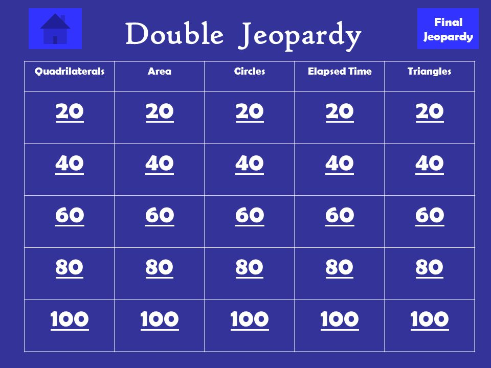 Double Jeopardy 20 40 60 80 100 Final Jeopardy Quadrilaterals Area