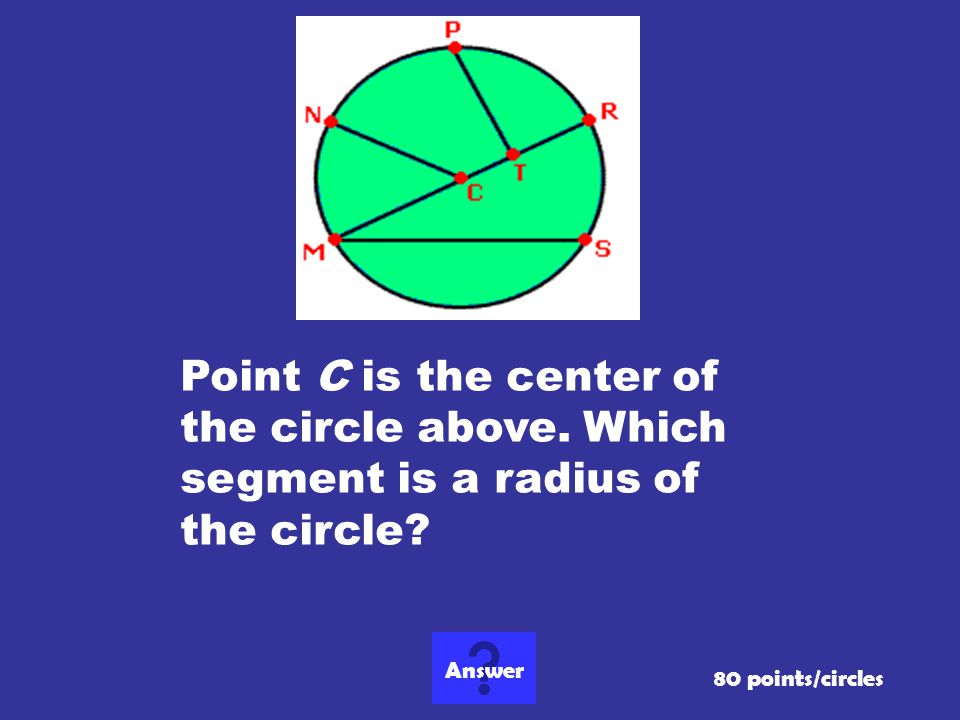 Point C is the center of the circle above