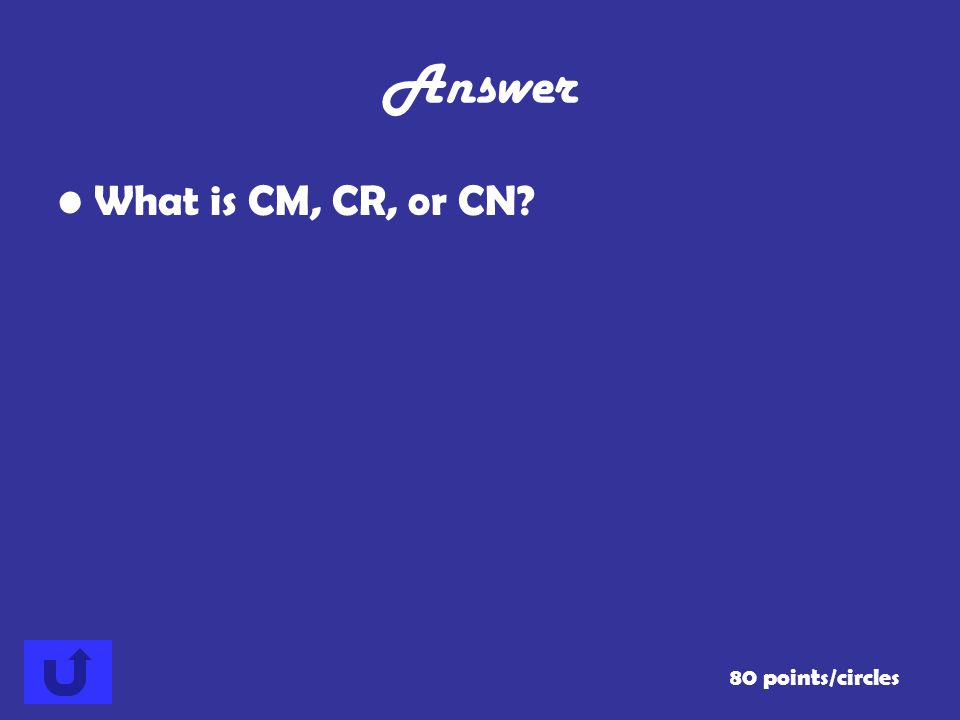Answer What is CM, CR, or CN 80 points/circles